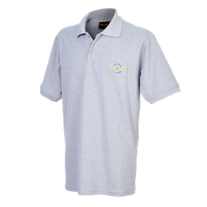 "Poloshirt ""Flying is Living"" Large, Grey"